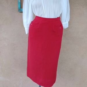Vintage 1950s Red Wool Pencil Skirt W23 Sz xS